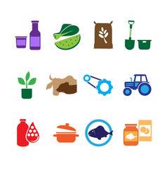 Farming Food and Agriculture Icons vector image