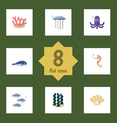 Flat icon sea set of alga tuna conch and other vector