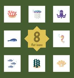 flat icon sea set of alga tuna conch and other vector image vector image