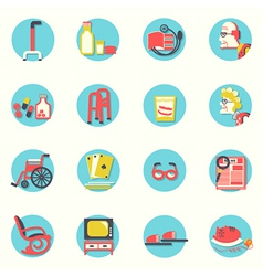 flat iconselderly people and objects for life vector image