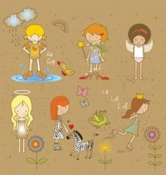Girls doodles vector