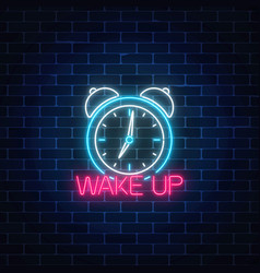 Glowing neon sign with alarm clock and motivation vector