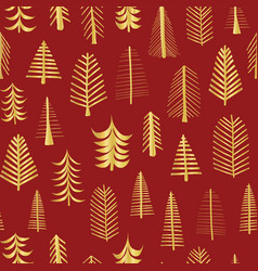 gold foil doodle christmas trees pattern vector image
