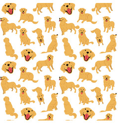 Golden retriever seamless pattern vector