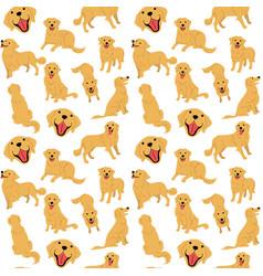 golden retriever seamless pattern vector image