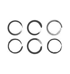 grunge round circles set brush paint vector image