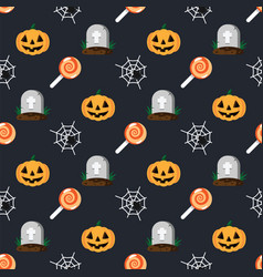 halloween holiday pattern grave in cemetery vector image
