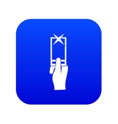 Hand photographs on smartphone icon digital blue vector