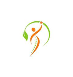 Happy people green leaf logo vector