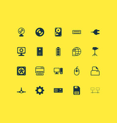 Hardware icons set with video camera gear ram vector