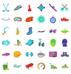 Healthy activity icons set cartoon style vector