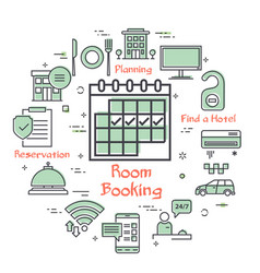 hotel service square concept - room booking vector image