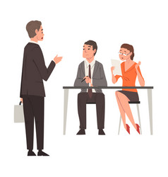 Hr managers talking with male candidate vector