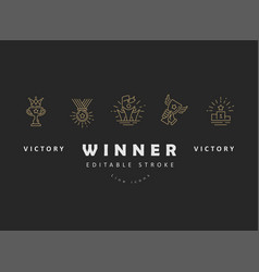 icon and logo winner and champion editable vector image