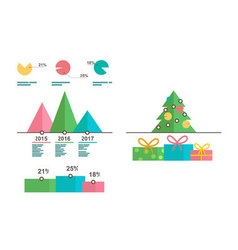 Infographics templates Christmas tree diagrams vector image vector image