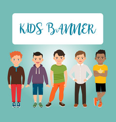 Kids banner with boys vector