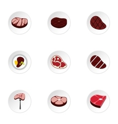 Kind of beef icons set flat style vector