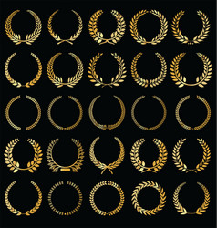 Laurel wreaths golden retro collection vector