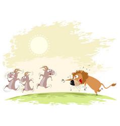 Lion catches goats vector
