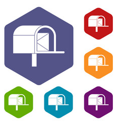 Mailbox icons set hexagon vector