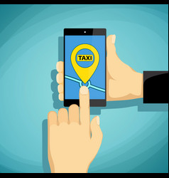 man calls taxi on a smartphone vector image