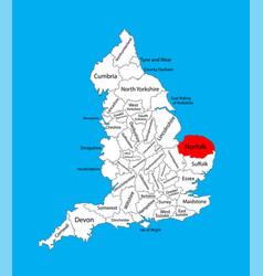 Map norfolk in east england united kingdom vector