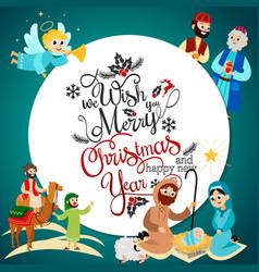merry christmas holiday set flying angel vector image