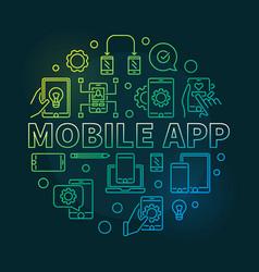 Mobile app round modern outline vector