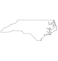 north carolina nc state border usa map outline vector image