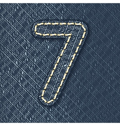 Number 7 made from jeans fabric vector image