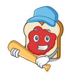 Playing baseball bread with jam character cartoon vector