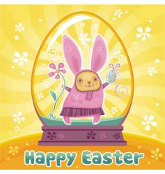 rabbit in Easter egg vector image