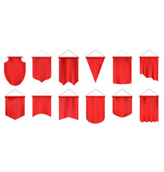 realistic textile pennants empty 3d flags red vector image