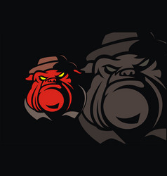 Red bulldog wearing a hat vector