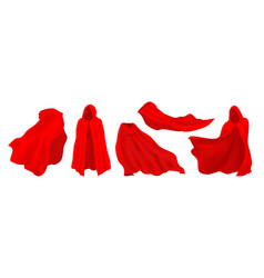 Red cape with hood realistic superhero cloak vector