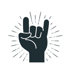 Rock symbol hand gesture cool party respect vector