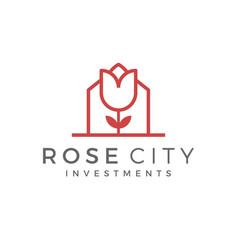 Rose city real estate modern nature city park vector