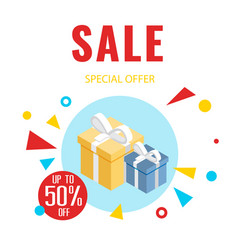 sale special offer up to 50 gift box background v vector image
