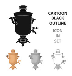 samovar icon in cartoon style isolated on white vector image