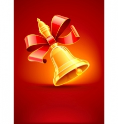 school bell with red ribbon vector image