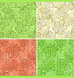 Seamless backgrounds fig leaves vector