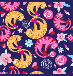 Seamless floral pattern with lovers cats vector