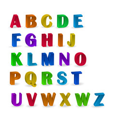 Set colorful alphabets with numerals 3d vector