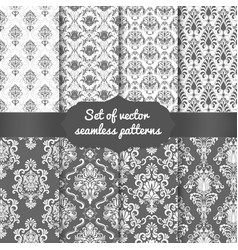 set of damask seamless pattern vector image