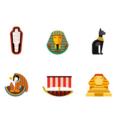 Set of flat design egypt travel icons vector