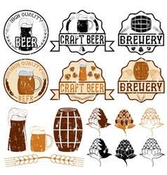Set of grunge beer emblems vector