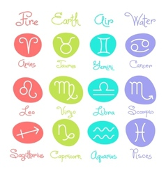 Set of simple zodiac signs with captions vector image