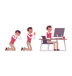 set of young male office worker in scenes vector image