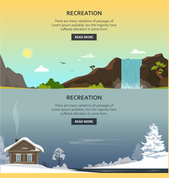 set recreation posters banners in flat vector image