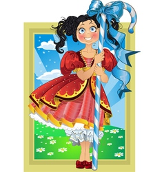 Small brunette girl with candy on Fairytale vector image